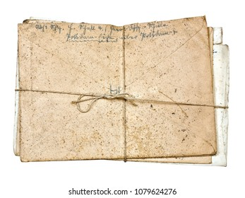 Stack of dirty dusty old antique letters, tied with cord and knot, isolated on white background, high resolution