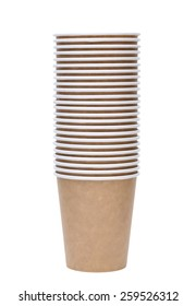 Stack of disposable paper cup isolated on white background