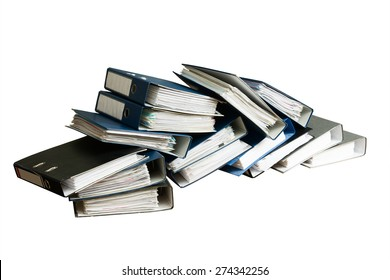 Stack of documents in binders, isolated on white background