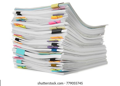 Stack of documents on white background