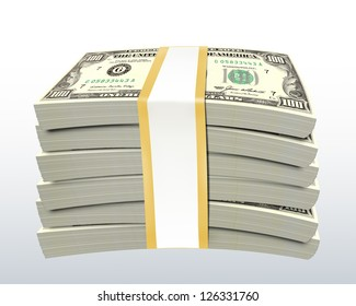 Stack of dollar bills - isolated with clipping path
