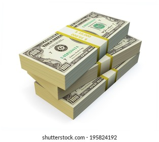 Stack of Dollar Bills on white background.