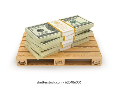 Stack of dollar bills on the wooden pallet. 3d illustration
