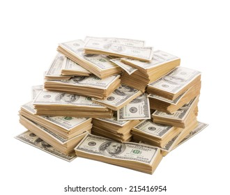 Stack of dollars banknotes isolated on white