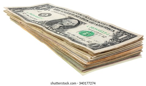Stack of dollars banknotes isolated on white background