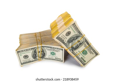 Stack of dollars in business concept isolated on white