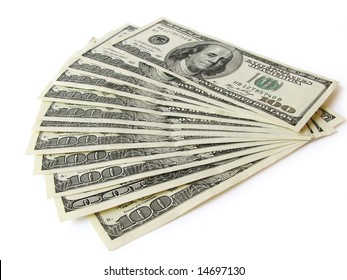 stack of dollars currency isolated closeup