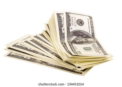 The stack of dollars isolated on a white background