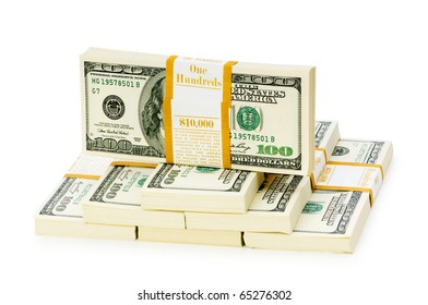 Stack of dollars isolated on the white