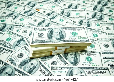 Stack of dollars on money background
