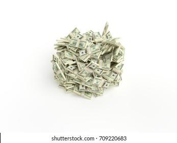 Stack of dollars on white background — 3D Render