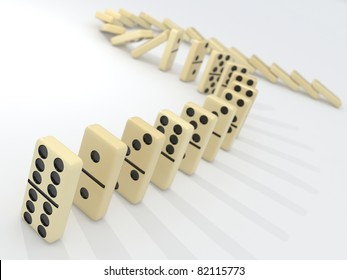 Stack of dominoes falling down