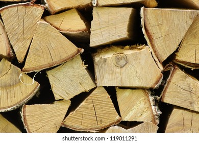Stack of dried firewood of birch wood