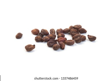 Stack of dried grape seeds isolated on white background
