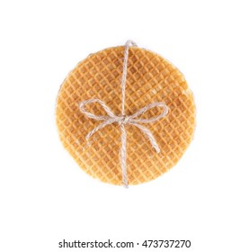 Stack of Dutch caramel waffles isolated.