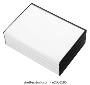 A stack of DVD or CD cases isolated on white with a clipping path