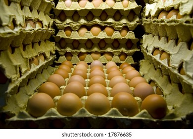 Stack of eggs in a market