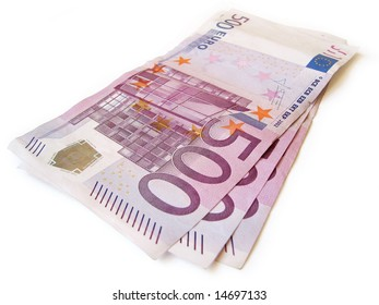 stack of eur money isolated closeup