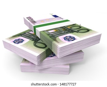 Stack of EURO banknotes. One hundred. 3D illustration.