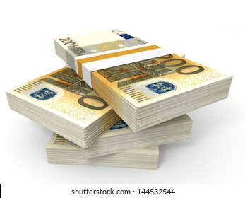 Stack of EURO banknotes. Two hundred. 3D illustration.