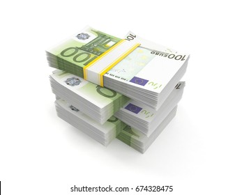 Stack of euro currency isolated on white background. 3d illustration