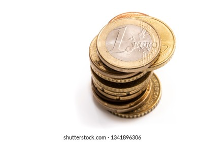Stack of euros, coins in a pile
