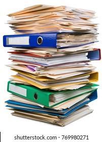 Stack, files, paperwork.