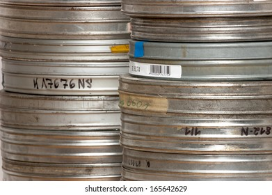 a stack of film cans