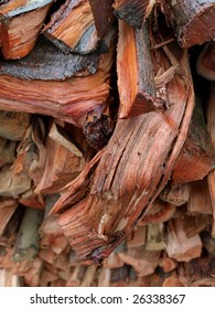 Stack of firewood cut from litchi trees.