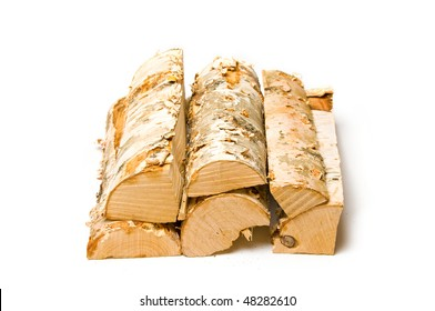 A stack of firewood with white background