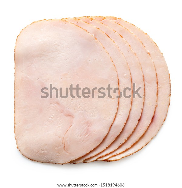 A stack of five slices of chicken ham isolated on white. Top view.