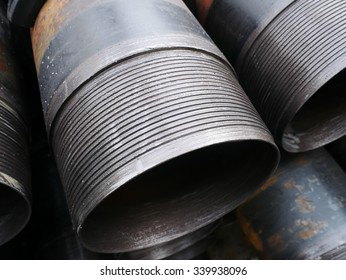 Stack of flush joint connection oil well casing (pin end) bundles