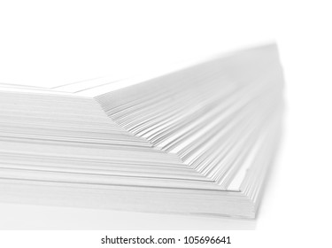 stack of flyers on white background