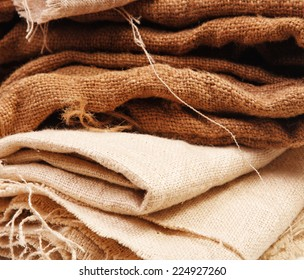 A stack of folded burlap