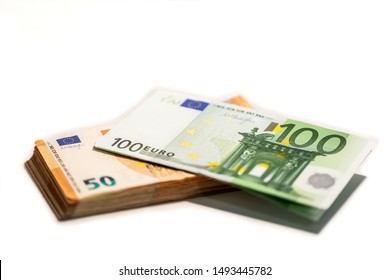 Stack of Folded EU Currency Notes on White background, euro, money