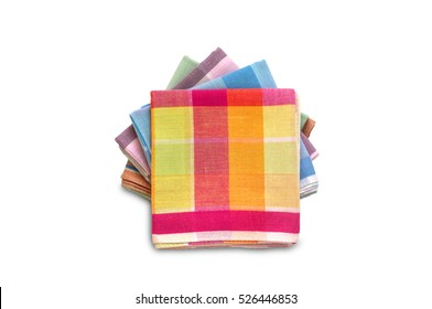 stack of folded handkerchiefs isolated on white background