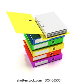 Stack of folders with blank page, 3d render