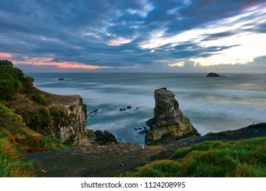 Stack formations at the coast of Muriwai in Auckland, New Zealand