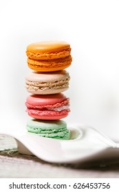 Stack of four french macarons