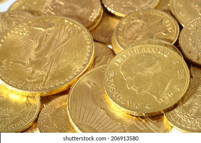Stack of french and american gold coins