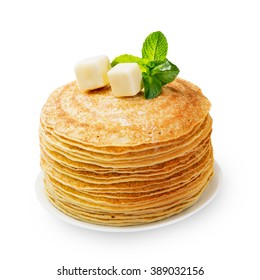 Stack of fresh baked pancakes isolated on white background