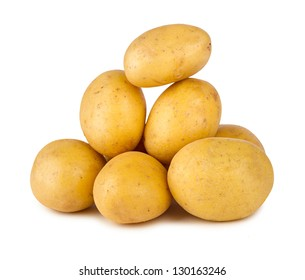 a stack of fresh potatoes