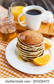 Stack of freshly prepared pancakes for breakfast