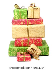 stack of gifts on white background with small shadow