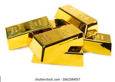 Stack gold bar 1 kg on white background