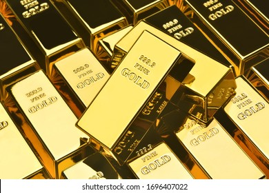 Stack of gold bars, Financial concepts