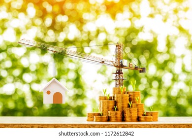 Stack gold coin with many increase and plant grow value on the top and tower crane and hoist with build house in the public park, saving money and loan for construction real estate and home concept.