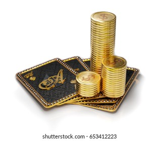 Stack of gold coins on royal poker hand on ace of spades. 3D illustration on white background.