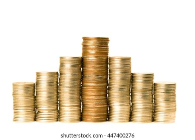 Stack of gold coins on white background. Financial concept.