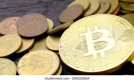 Stack of  golden bitcoins.